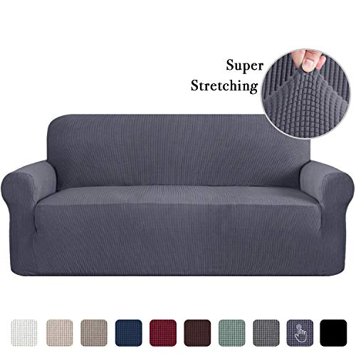 Sofa Covers for 3 Cushion Couch Classic Slipcovers Machine-Washable Sofa Slipcover Stretch Sofa Slipcover 1 Piece Furniture Covers for Three Cushion Sofas, Non Skid Furniture Cover Gray