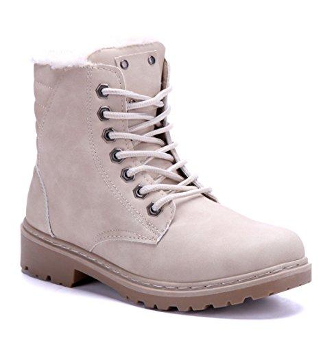 Schuhtempel24 Damen Schuhe Boots Stiefel Stiefeletten Blockabsatz 4 cm Beige