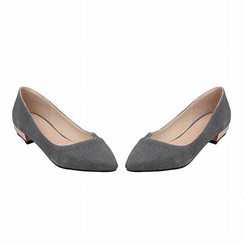 Show Shine Womens Fashion Low Chunky Heel Pointed Toe Shoes Grey 1X1Wny