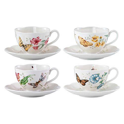 Lenox Butterfly Meadow Porcelain Monarch, Dragonfly, Tiger Swallowtail, and Fritillary Cup and Saucer Set, Service for 4 (Bundle)
