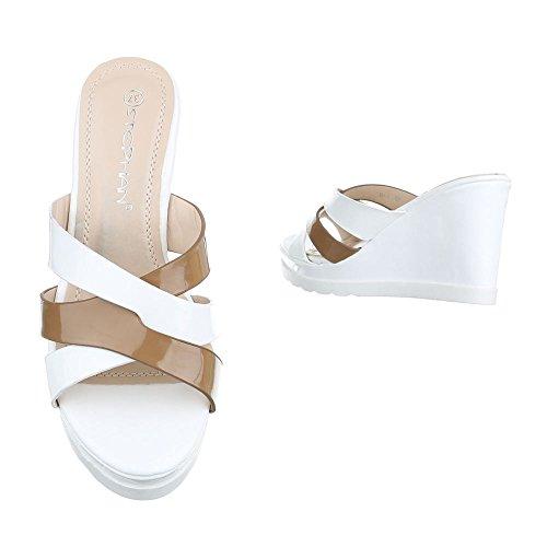 Ital-Design - zapatillas de baile (jazz y contemporáneo) Mujer blanco/beige