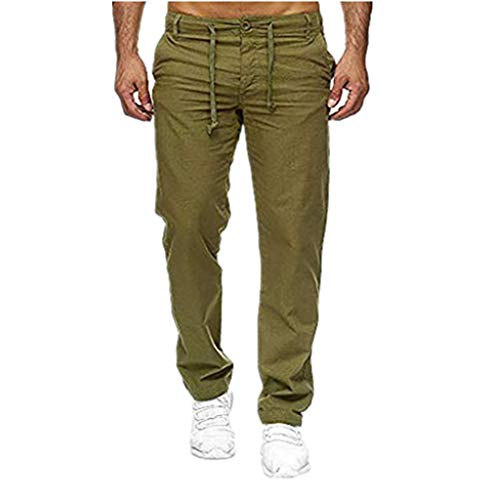 (iHHAPY Men Splicing Work Pants Large Size Casual Cargo Trousers Linen Overalls Long Pants Pockets Sport Work Pant Outdoor Army)