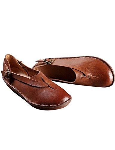 Zoulee Zapatos De Mujer De Cuero Con Punta Redonda