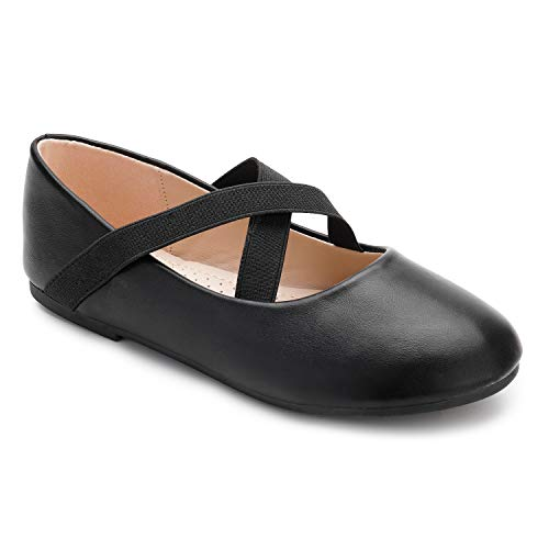 Trary Little Girls Ballet Flats Roman Slip-on Shoes with Elastic Ankle Strap