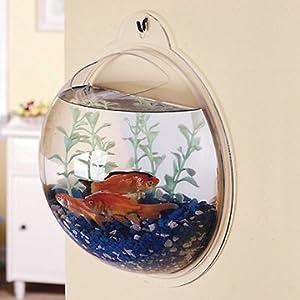 new fish wall mounted bowl aquarium wall hanging tank plany decoration pot pet. Black Bedroom Furniture Sets. Home Design Ideas