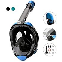 Snorkel Mask Full Face,DasMeer Seaview 180 Easy Breathing Mask with Detachable Camera Mount and Long Snorkeling Tube Design,Anti-Fog Anti-Leak for Adults Kids Swimming Sea