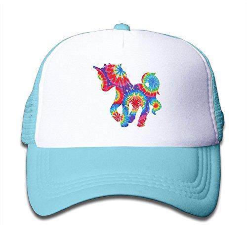 Tie Dye Unicorn Kids Mesh Cap Trucker Caps Hat Adjustable - Sunglasses Blue Juice