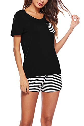 KKSSQUEEN Womens Pajama Set 2 Piece Short Sleeve V Neck Top and Striped Pants Sleepwear