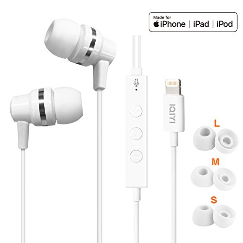 [Apple MFi Certified] in Ear Headphones and Earbuds with Microphone, Lightning Connector Ear Buds Compatible with iPhone 6/6S/7/7 Plus/8/8 Plus/X, White