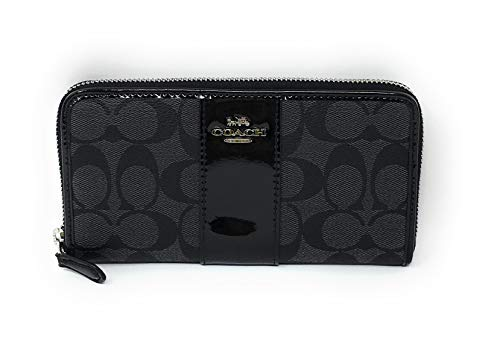 Coach Signature Zip - COACH F35443 ACCORDION ZIP WALLET IN SIGNATURE CANVAS BLACK SILVER 2