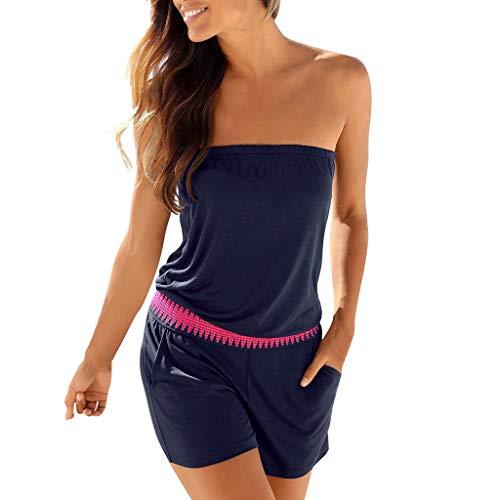 OrchidAmor Fashion Womens Casual Off Shoulder Solid Tube Jumpsuit Pocket Short Playsuit Navy