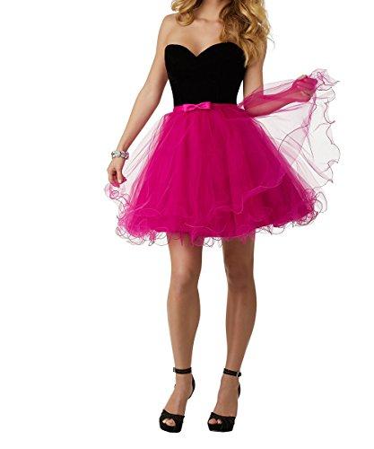 Tanzenkleider Schwarz Cocktailkleider Damen Mini Traegerlos Schwarz Herzausschnitt Pink Abendkleider Ballkleider Kurz Charmant nUFq81x68