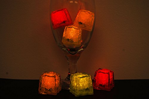 LiteCubes Brand 3 Mode Jewel Color Tinted Fire Pack Theme LED Light Up Ice Cubes- 6 Pack