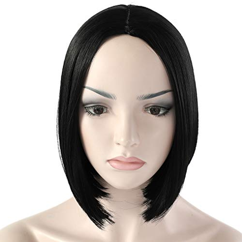 """OneDor 11"""" Short Straight Middle Part Synthetic Heat Resistant Bob Wigs, Full Head Hair Wigs for Women, Girls (1B - Off Black)"""