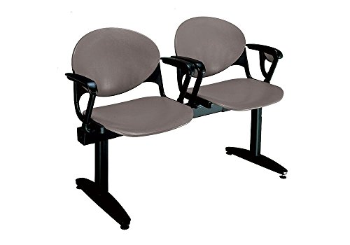 Polypropylene Two Seat Bench wth Arms Cool Gray Dimensions: 47