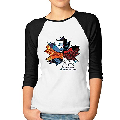 Sakanpo Women's Maple Leaf 3/4 Sleeve Baseball Tee Raglan T-Shirts XL Black