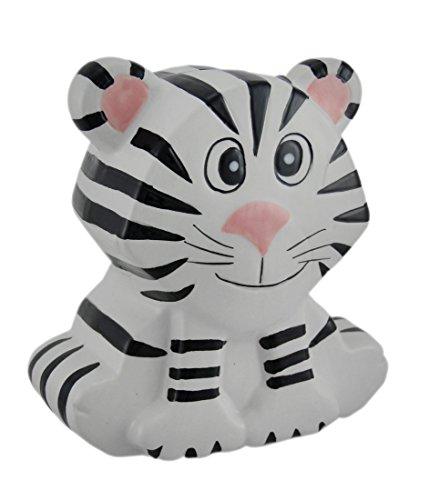 Zeckos Whimsical White and Black Siberian Tiger Kids Money Bank