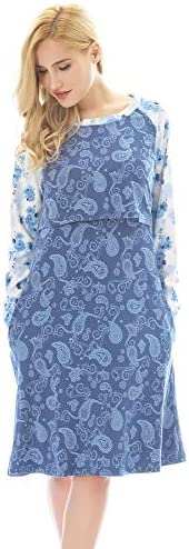Bearsland Women's Maternity Pajamas Nursing Nightgown for Breastfeeding Sleep