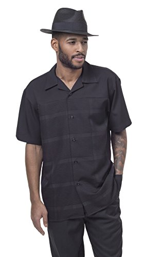 2 pc Men's Walking Suit Full Cut Short Sleeve Comfortable and Stylish 1842 (L/34, Black) by Montique