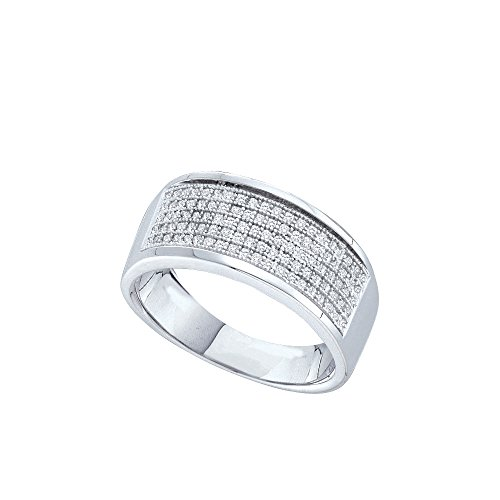 Sterling Silver Womens Round Diamond Five Row Wedding Band 1/3 Cttw by JAWAFASHION