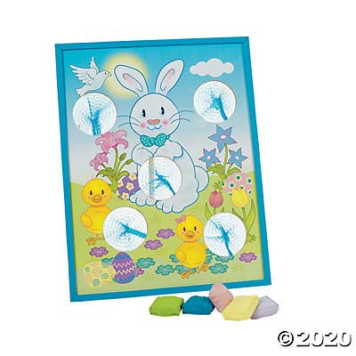 Fun Express Easter Bunny Bean Bag Toss Game Wooden Game Board and 5 Bean Bags Easter Party Games