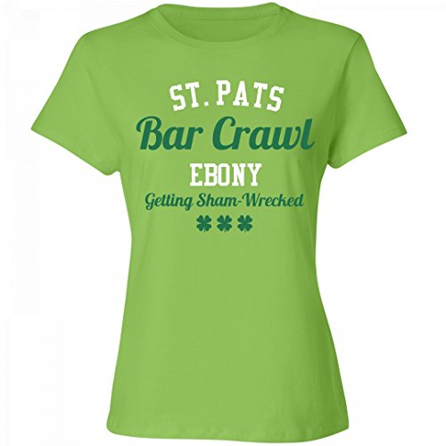 ST. Pats Bar Crawl Ebony: Ladies Relaxed Fit Cotton Basic - Ebony Tequila