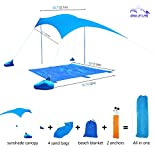 Oileus Beach Sunshade & Blanket Set-Beach Tent with Sandbag Anchors-UPF50+ Fine Lycra-Perfect Sun Shelter Canopy for Kids & Family at the Beach, Parks, Camping & Outdoors