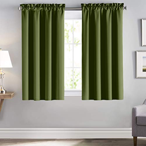 downluxe Blackout Curtain Panels - Thermal Living Room Curtains, Noise Reducing and Heat Blocking Drapes for Bedroom (Set of 2, Olive Green, 52-Inch Wide by 63-Inch Long)