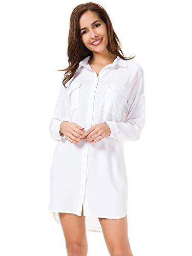 MOQUEEN Womens Button Down Boyfriend Shirt Dress Long Sleeve Basic Blouse Tunic,White,Large