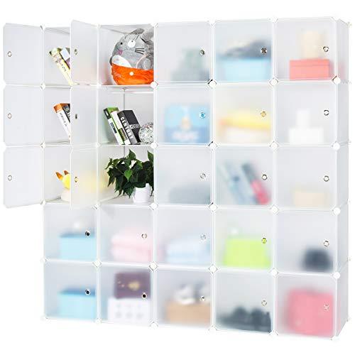 Honey Home Wardrobes Closet,Portable Closet for Bedroom, DIY Modular Cabinet Shelving Storage Organizer Plastic Closet with Easy Closed Doors- 25 Cubes