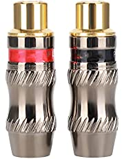 Audio Plug,2PCS Zinc Alloy Gold-Plated Female Soldering Plug for DIY Audio Cable Extension Cable