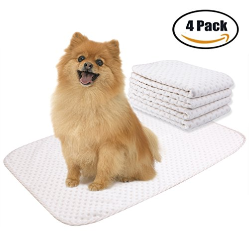 Washable Puppy Pads - Yangbaga 4 Pack Washable Reusable Dog Training Pad - Superior Absorbent,Waterproof,Odor Control - for Puppy Potty Training, Incontinence, Travel, Daily Night Use - Medium Size 20×28