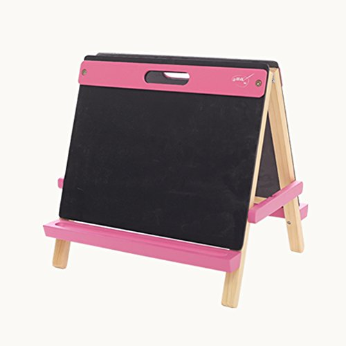 LXLA- 子供の両面イーゼルベビースケッチブックスタンドパズルワードパッドパインウッドのおもちゃは子供には無害 (色 : Pink)