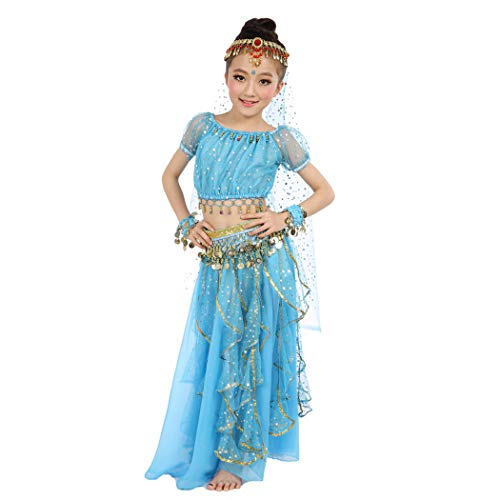 Maylong Girls Arabian Princess Dress up Belly Dance Outfit Halloween Costume (Large, Sky -