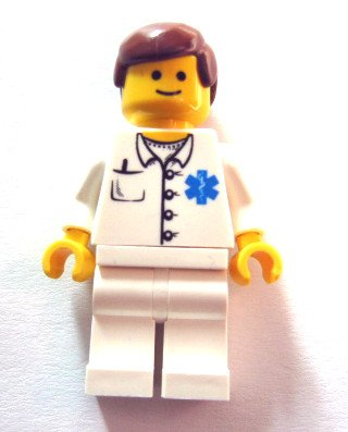 Lego Town City Minifigure Doctor - EMT Star of Life Button Shirt, White Legs, Reddish Brown Male Hair x1 Loose