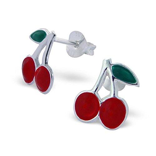 Silvadore a802p Clous d'Oreille pour enfant en argent–Boucles d'Oreilles Femme–Rouge Cerise–Fermoir Papillon écrin cadeau