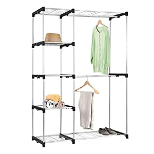 double rod closet maidmax free standing sliver garment rack for gift home kitchen. Black Bedroom Furniture Sets. Home Design Ideas