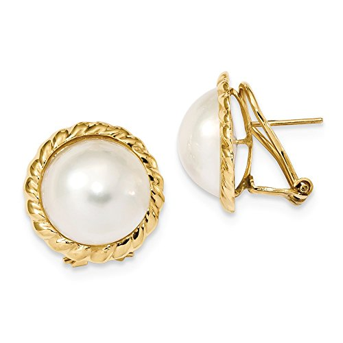 - 14k Yellow Gold 14mm White Mabe Freshwater Cultured Pearl Omega Back Earrings Ball Button Fine Jewelry Gifts For Women For Her