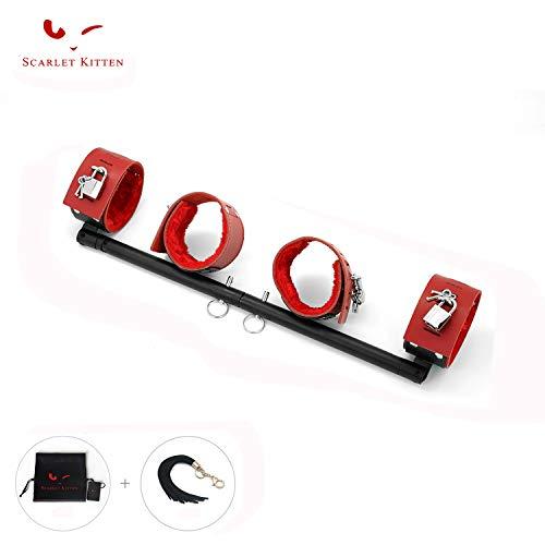 SCARLET KITTEN Exercise Spreader Bar with 4 Adjustable Straps Set, Red and Black ()