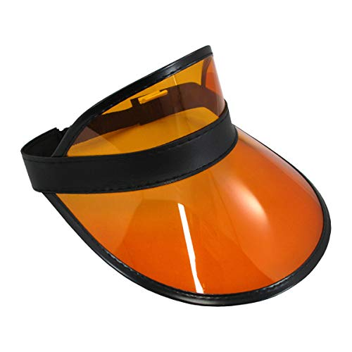 Tennis Beach Colored Plastic Clear Sun Visor Hat, Orange Black, One Size