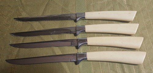"Vintage Set of 4 Constellation by CARVEL 9"" Steak Knives w White Bakelite Handle"