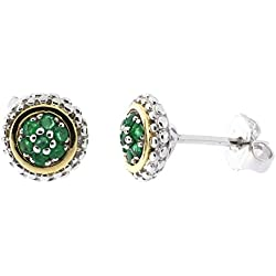 18k Yellow Gold and Sterling Silver Emerald Halo Popcorn Stud Earrings