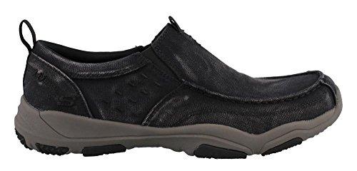 Skechers Larson Bolten Men's Slip On Shoes Black/Charcoal 12W (Skechers Sneakers Canvas)