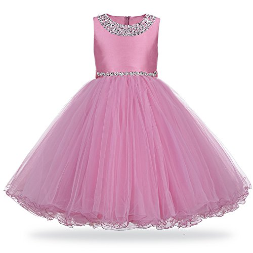 HUANQIUE Girls Wedding Pageant Dress Flower Girl Birthday Dress 2-9T