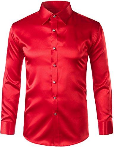 ZEROYAA Mens Regular Fit Long Sleeve Shiny Satin Silk Like Dance Prom Dress Shirt Tops Z6 Red XXX Large