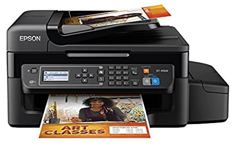 Epson WorkForce ET-4500 EcoTank Wireless Color All-in-One Supertank Printer with Scanner, Copier, Fax, Ethernet, Wi-Fi, Wi-Fi Direct, Tablet and Smartphone (iPad, iPhone, Android) Printing, Easily Refillable Ink (Epson L220)