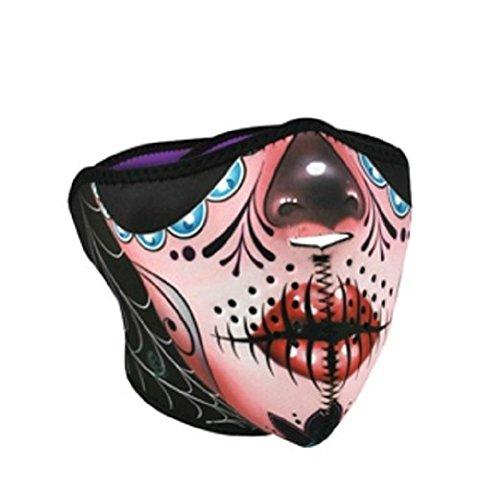Sugar Muerte Skull Pink Half Neoprene Face Mask Biker Ski Costume Ladies