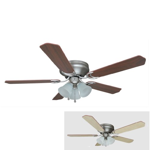 Hardware House 17-4985 Satin Nickel 52-Inch Flush Mount Ceiling Fan with Light Kit, Cherry or Light Maple Blades