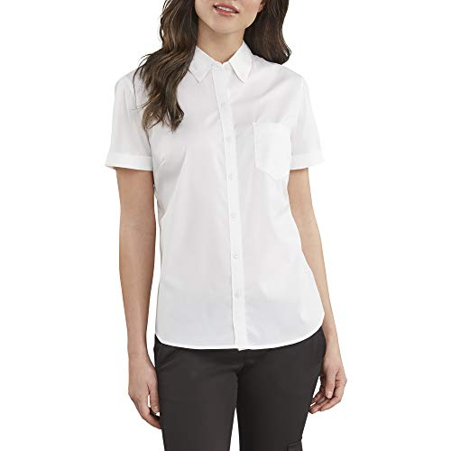 Dickies Women's Stretch Poplin Button-Up Short Sleeve Shirt, White, Medium
