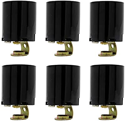 Creative Hobbies ELT5561A Phenolic (Bakelite) Medium Base E26 Fixture Socket, for Incandescent Bulbs, One-Piece Keyless with Hickey, Black, Pack of 6